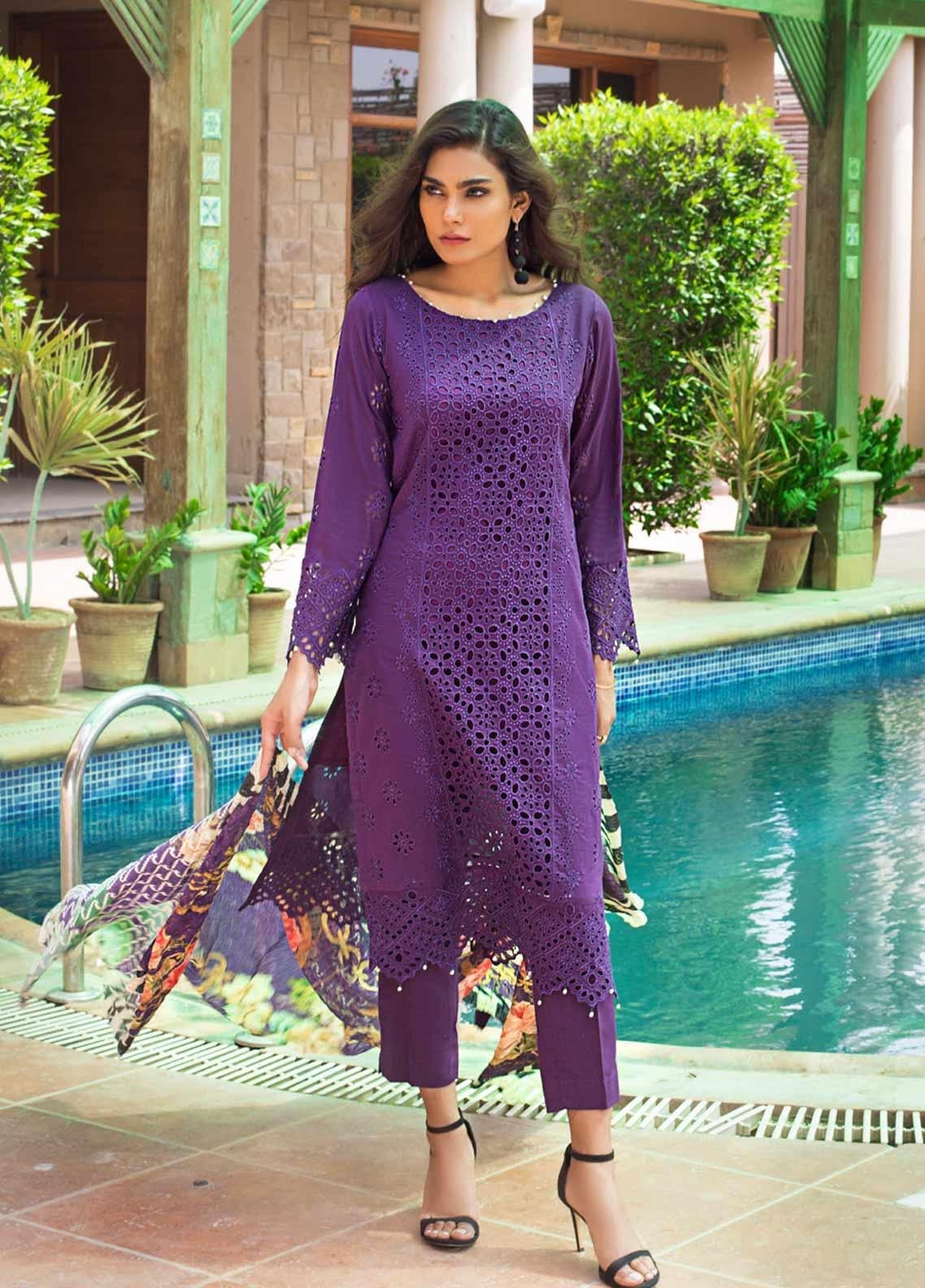 Kalyan By ZS Embroidered Schiffli Unstitched 3 Piece Suit KLY19-F3 09 - Festive Collection