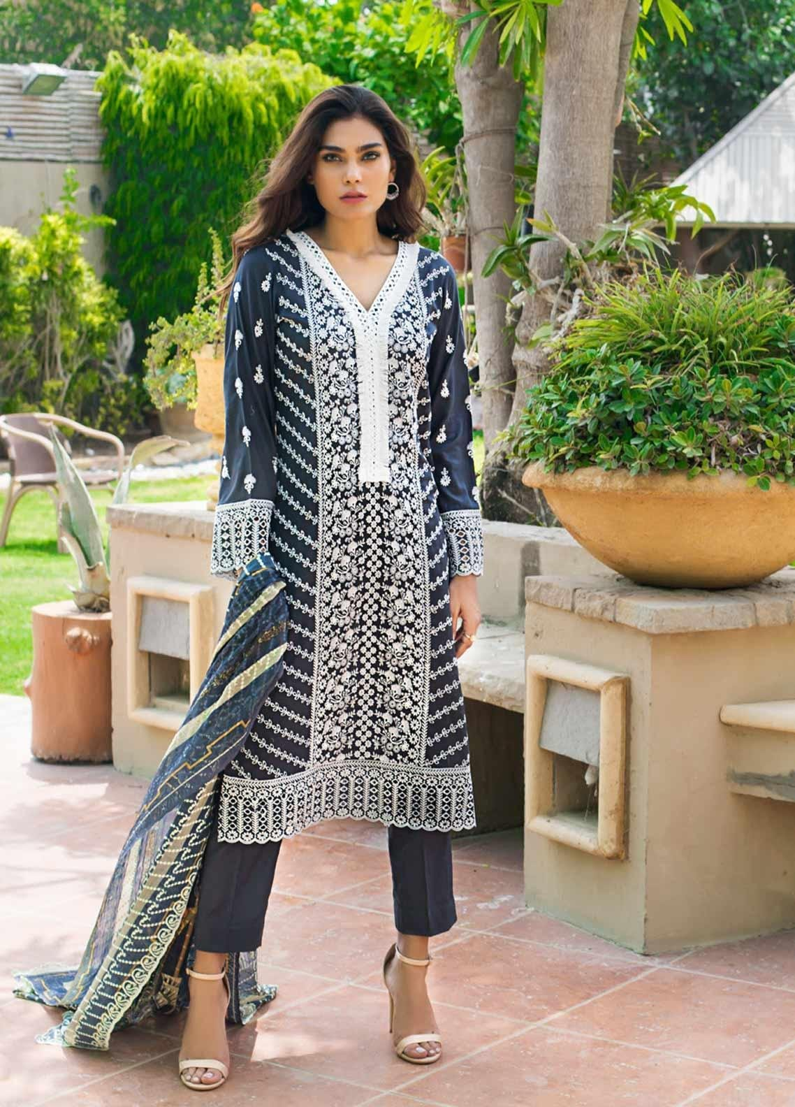 Kalyan By ZS Embroidered Schiffli Unstitched 3 Piece Suit KLY19-F3 10 - Festive Collection