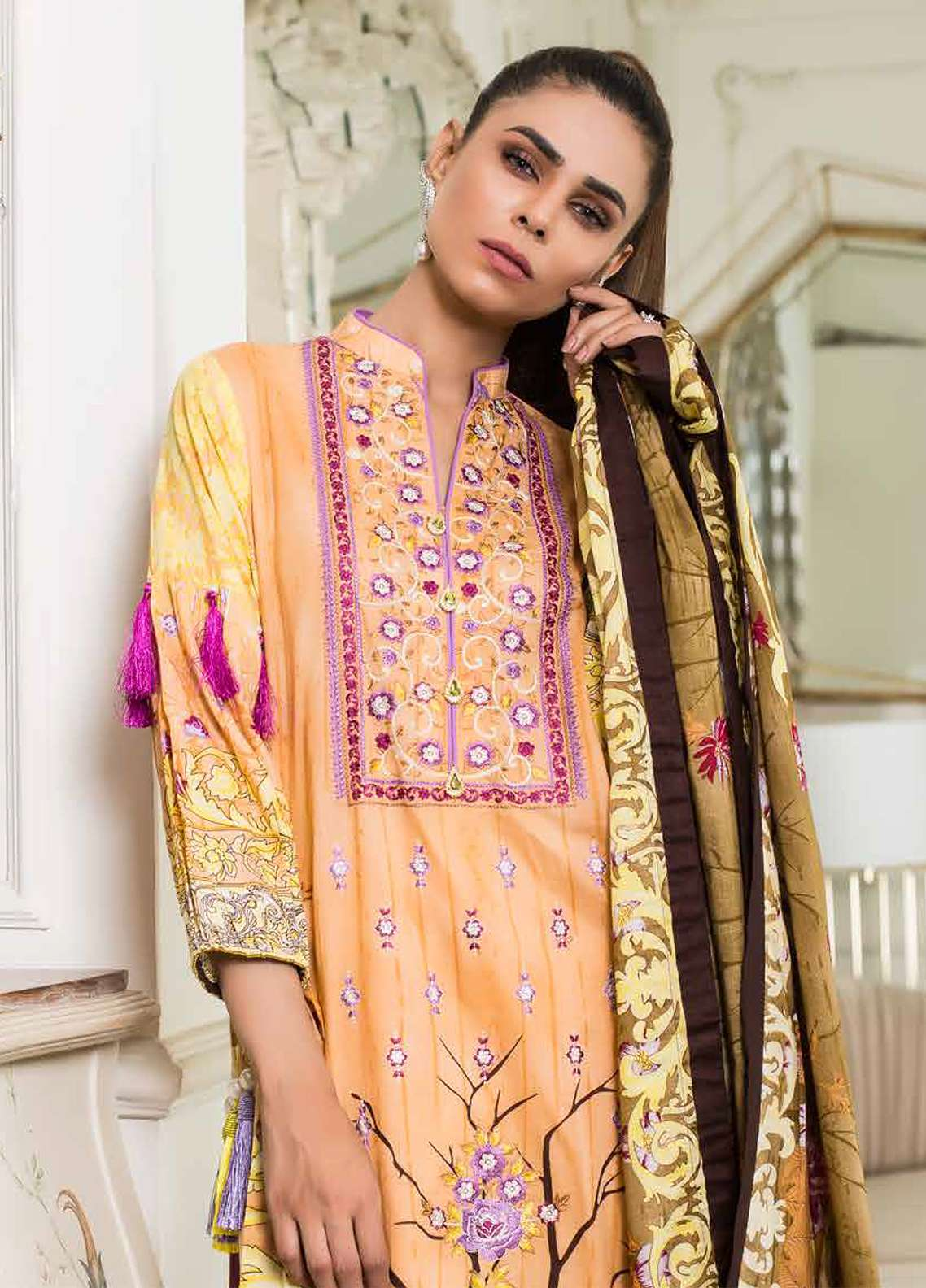 Khadija Noor Embroidered Lawn Unstitched 3 Piece Suit KDN18L 8B - Summer Collection