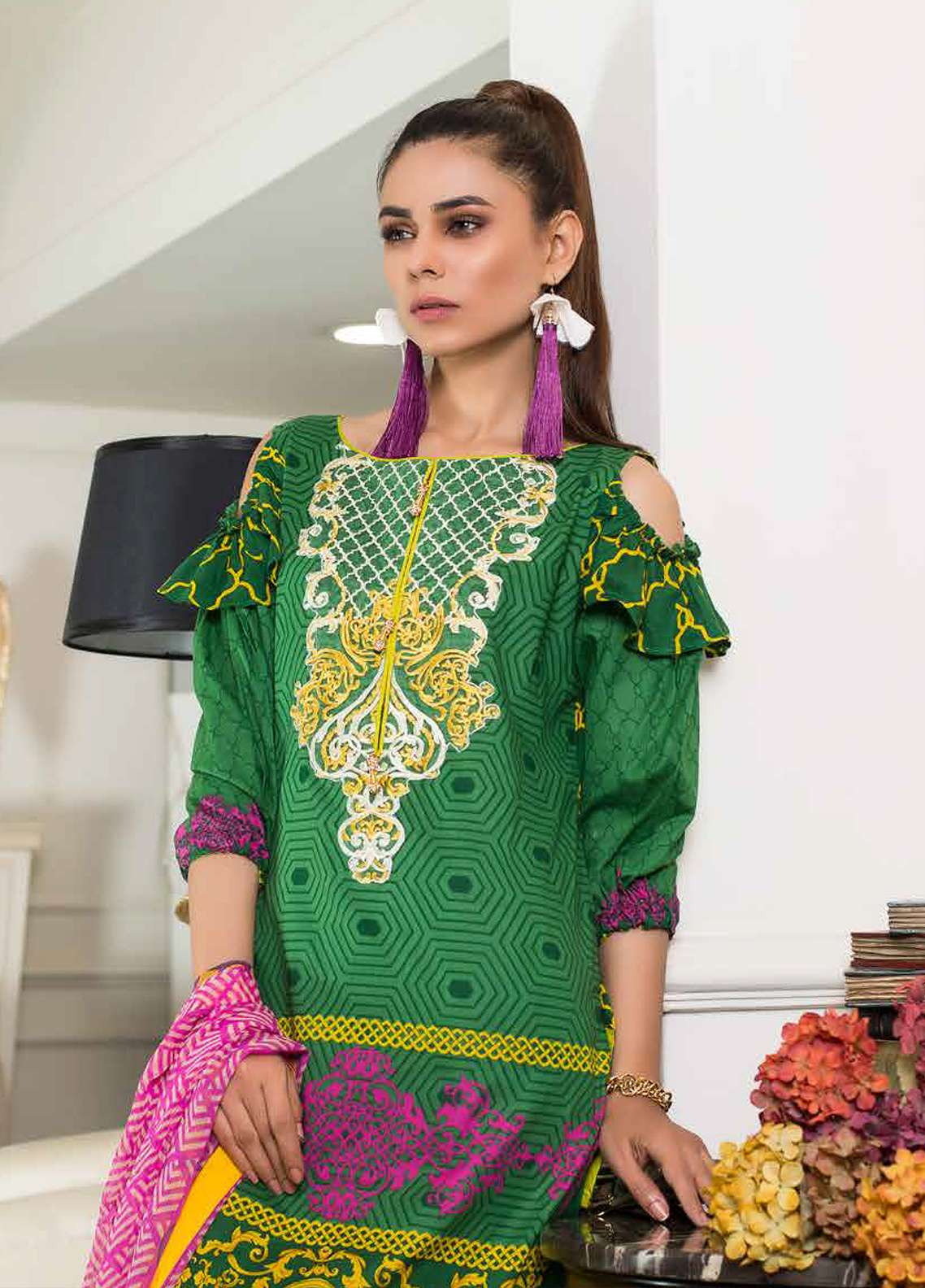 Khadija Noor Embroidered Lawn Unstitched 3 Piece Suit KDN18L 9A - Summer Collection