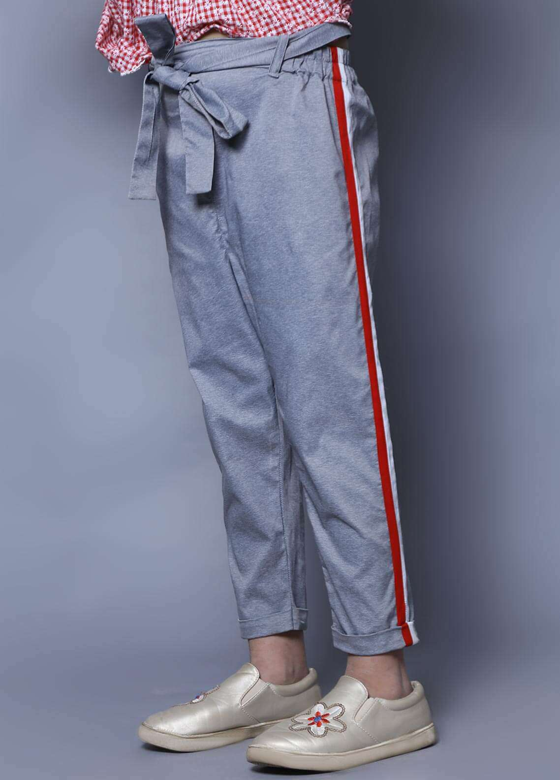 Keshia Cotton Strechable Bow Pants for Girls -  KT-04 Red Striped Pants