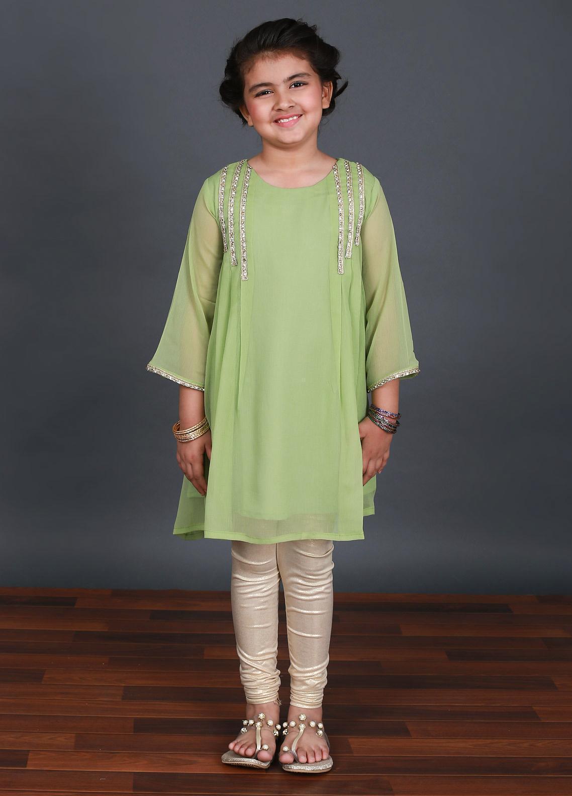 Keshia Chiffon Fancy Style Kurtis for Girls -  KD-002 Green
