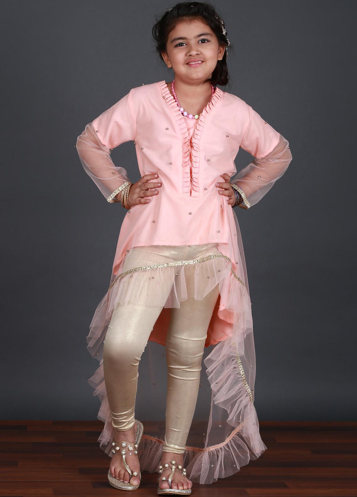 Keshia Cotton Net Fancy Style Girls Kurtis -  KD-004 Pink