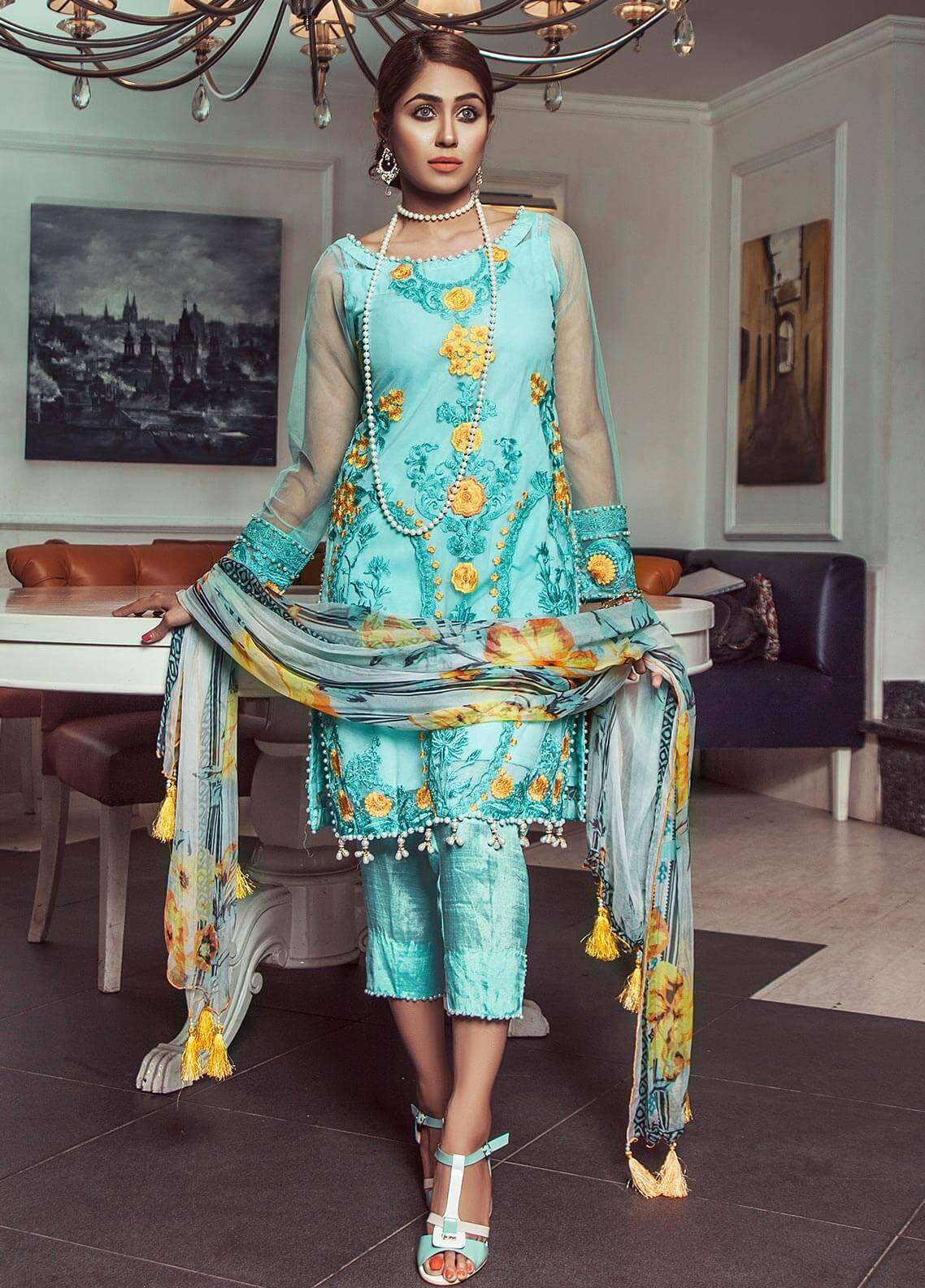 Keshia Embroidered Organza Unstitched 3 Piece Suit KE18C LALEH - Luxury Collection
