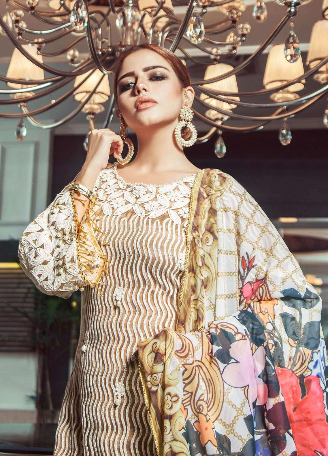 Keshia Embroidered Organza Unstitched 3 Piece Suit KE18C MINU - Luxury Collection