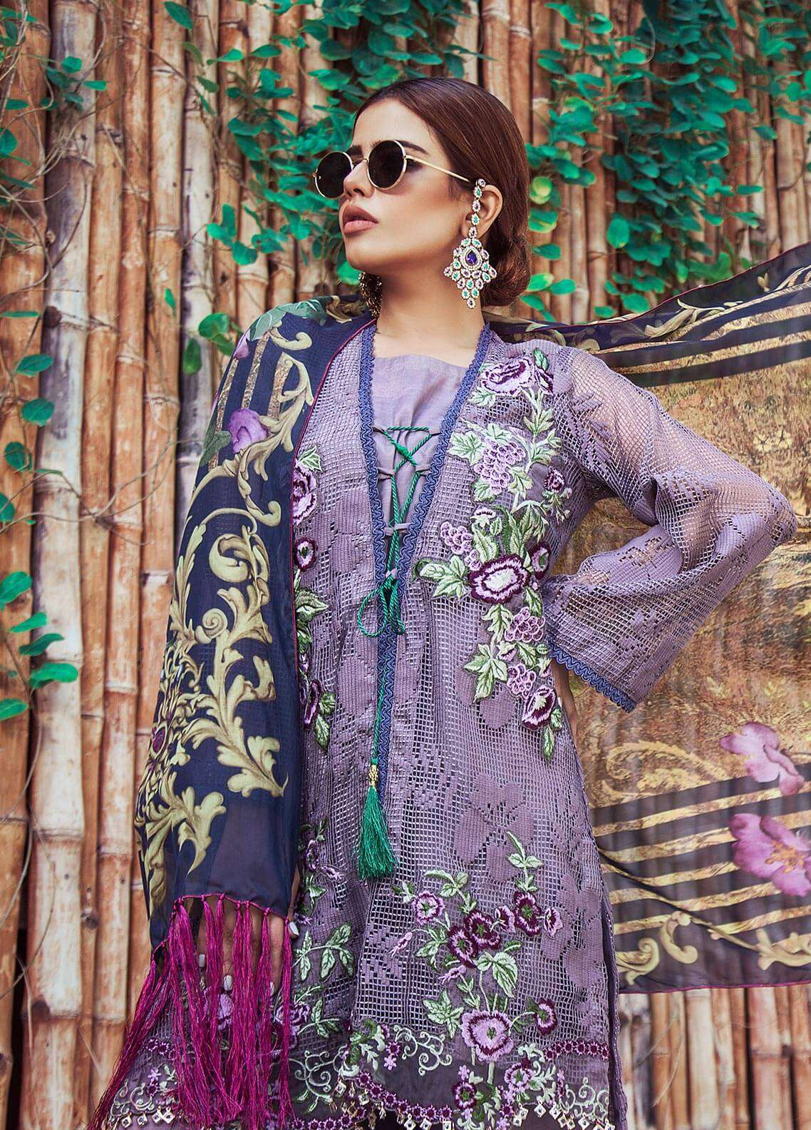 Keshia Embroidered Organza Unstitched 3 Piece Suit KE18C PARISA - Luxury Collection