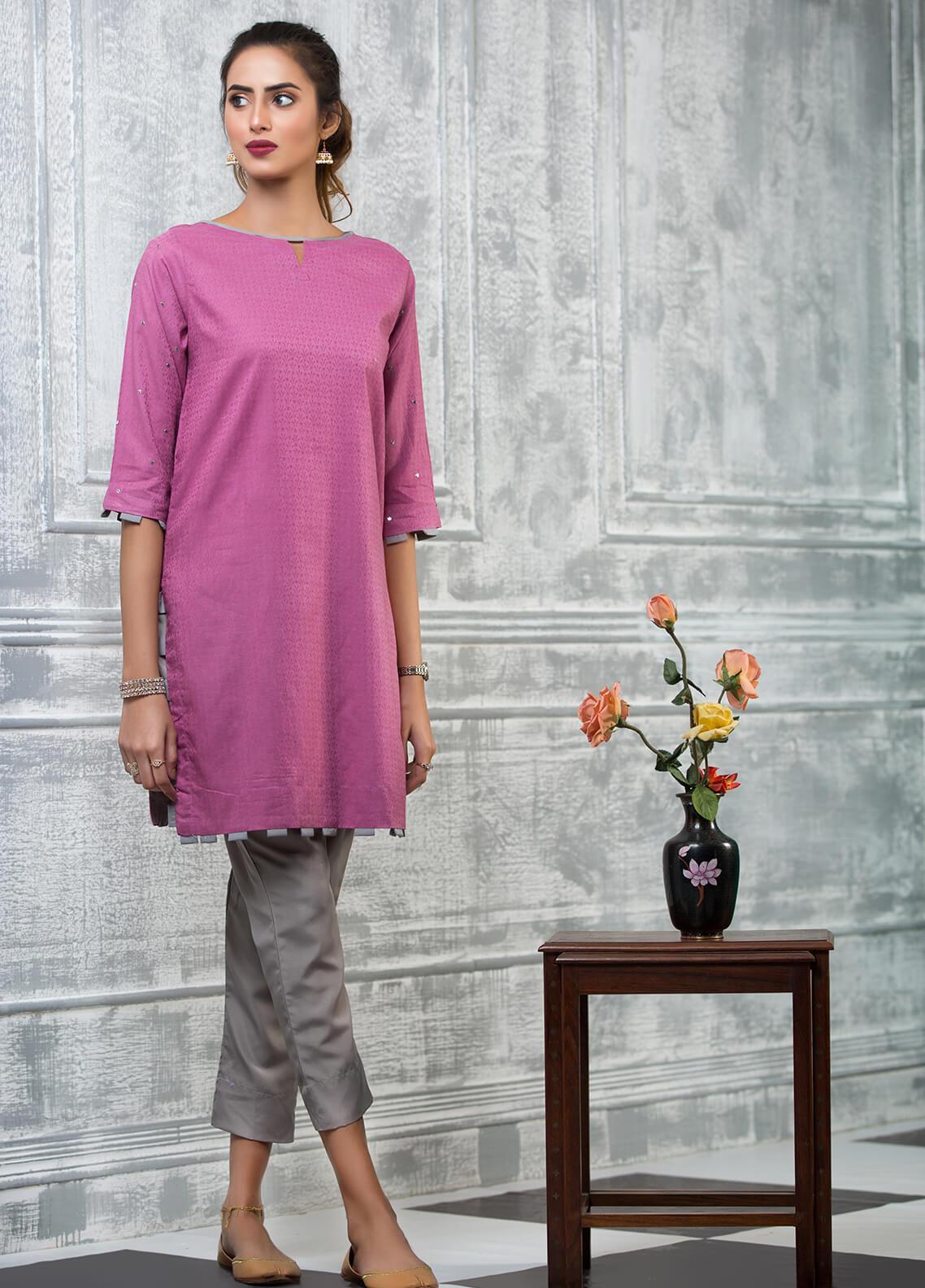 Keshia Embroidered Cotton Stitched Kurtis Shabab