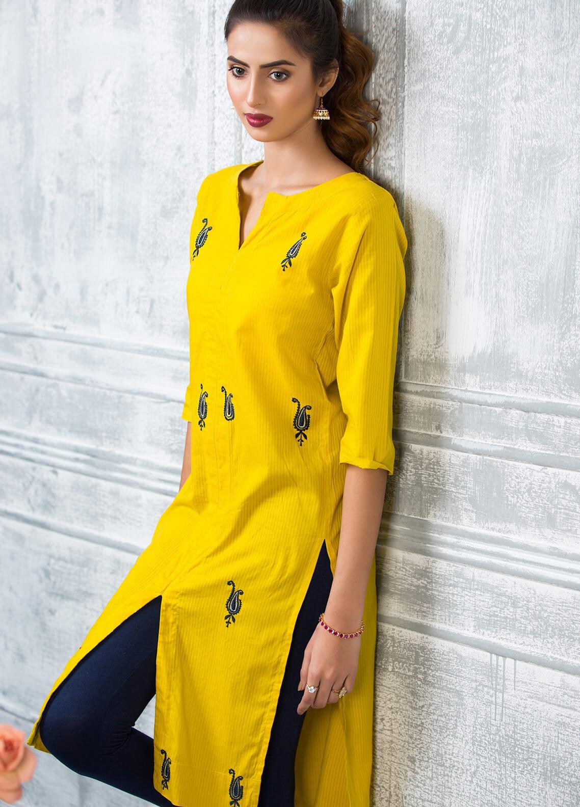 Keshia Embroidered Cotton Stitched Kurtis Khursheed