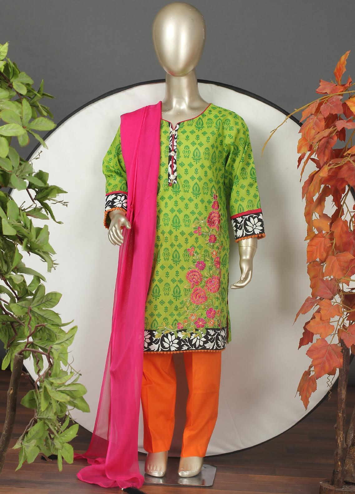 Sanaulla Exclusive Range Cotton Embroidered Girls 3 Piece Suits -  5441G Green