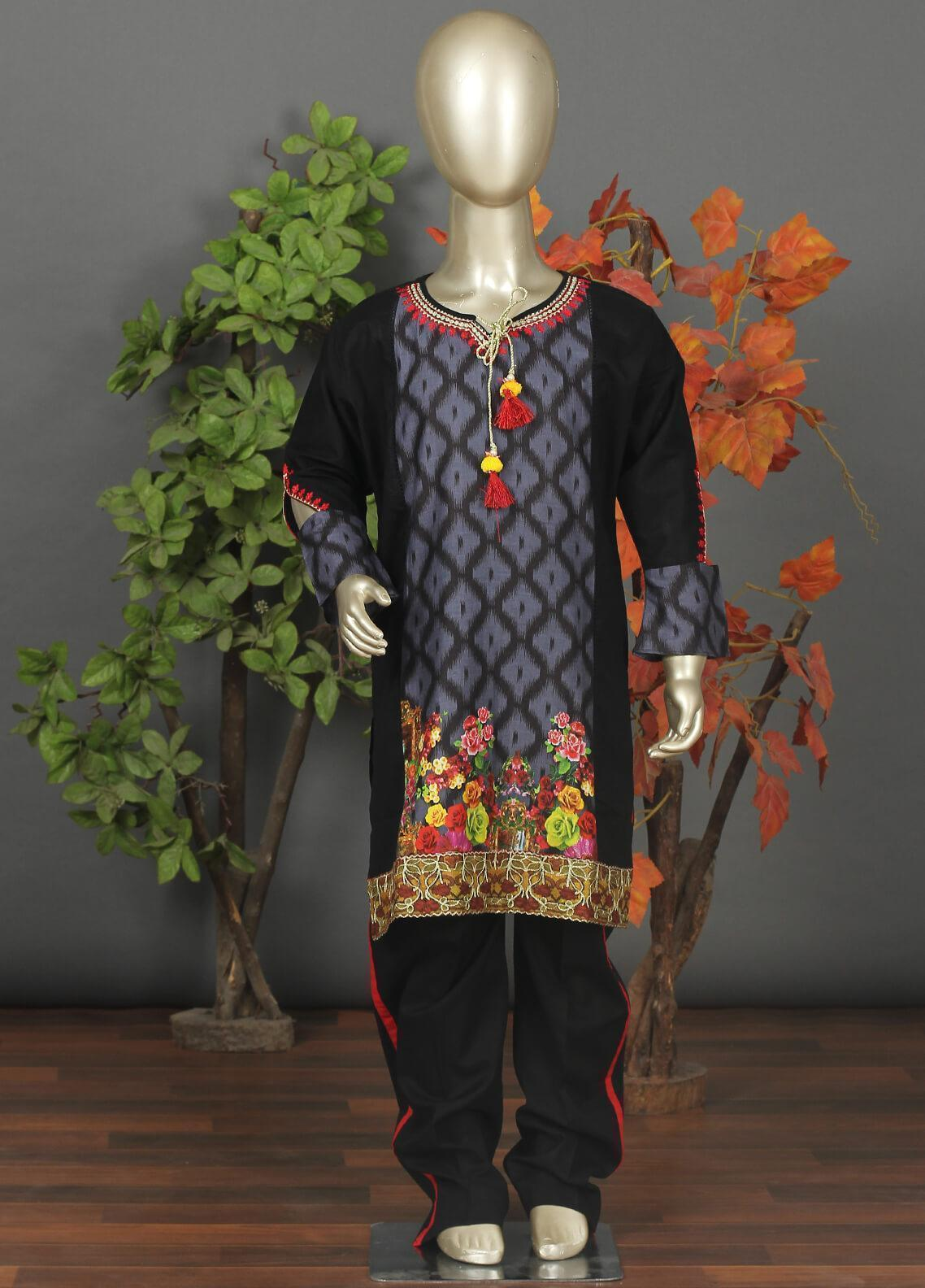 Sanaulla Exclusive Range Cotton Embroidered 3 Piece Suits for Girls -  544G Blue