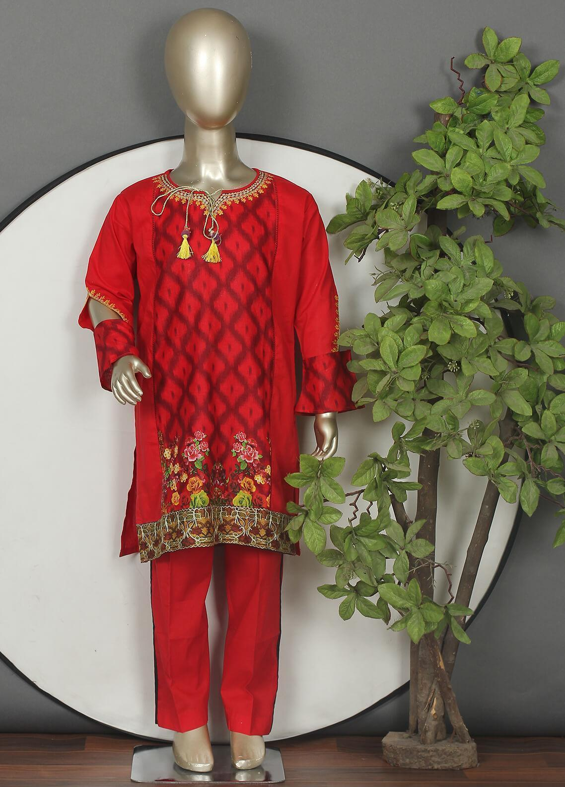 Sanaulla Exclusive Range Cotton Embroidered Girls 3 Piece Suits -  544G Red