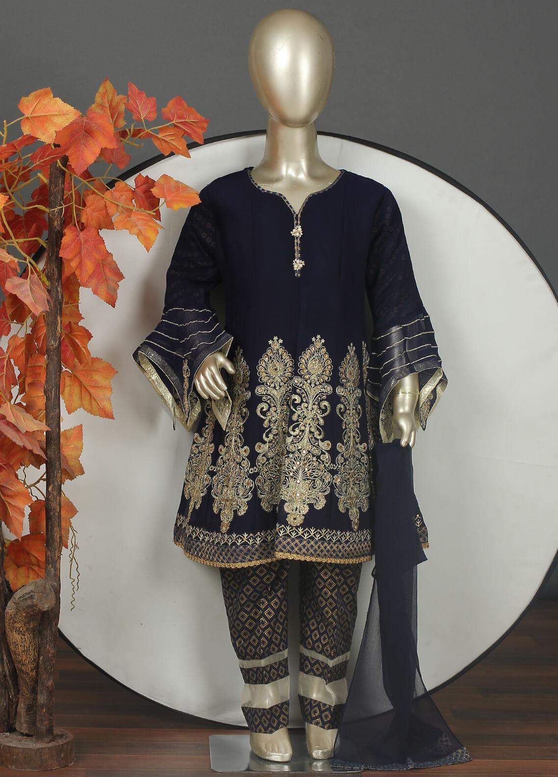 Sanaulla Exclusive Range Chiffon Embroidered Girls 3 Piece Suits -  G-303 Blue