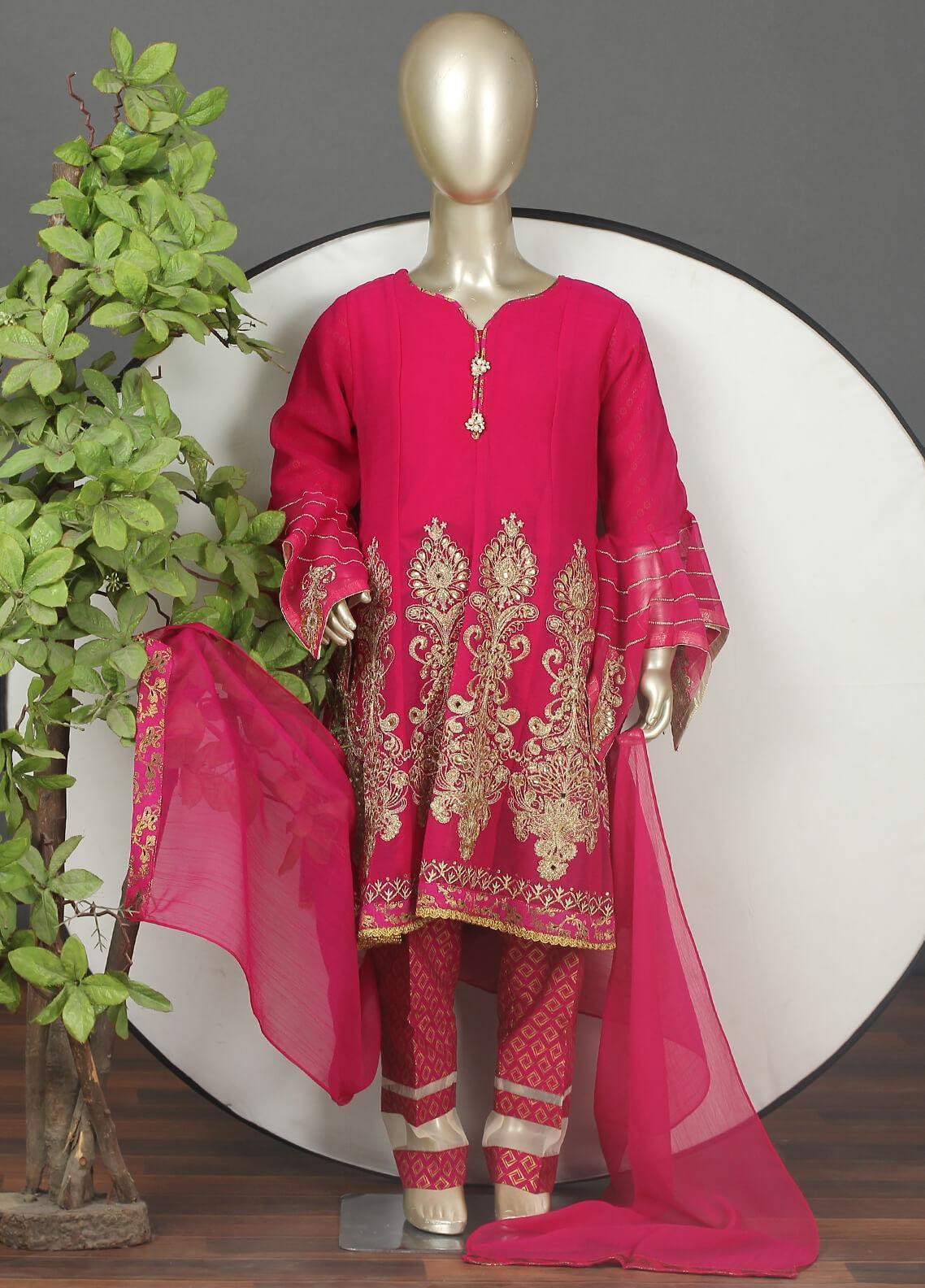 Sanaulla Exclusive Range Chiffon Embroidered 3 Piece Suits for Girls -  G-303 Pink