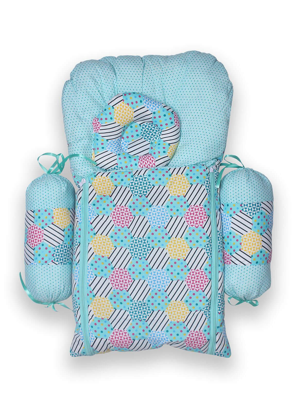 Plush Mink Poly Fiber Carrier Set 4 Pieces PEEKABOO CARRIER SET WITH BOLSTERS (4 Pieces Set) Blue - Baby Products