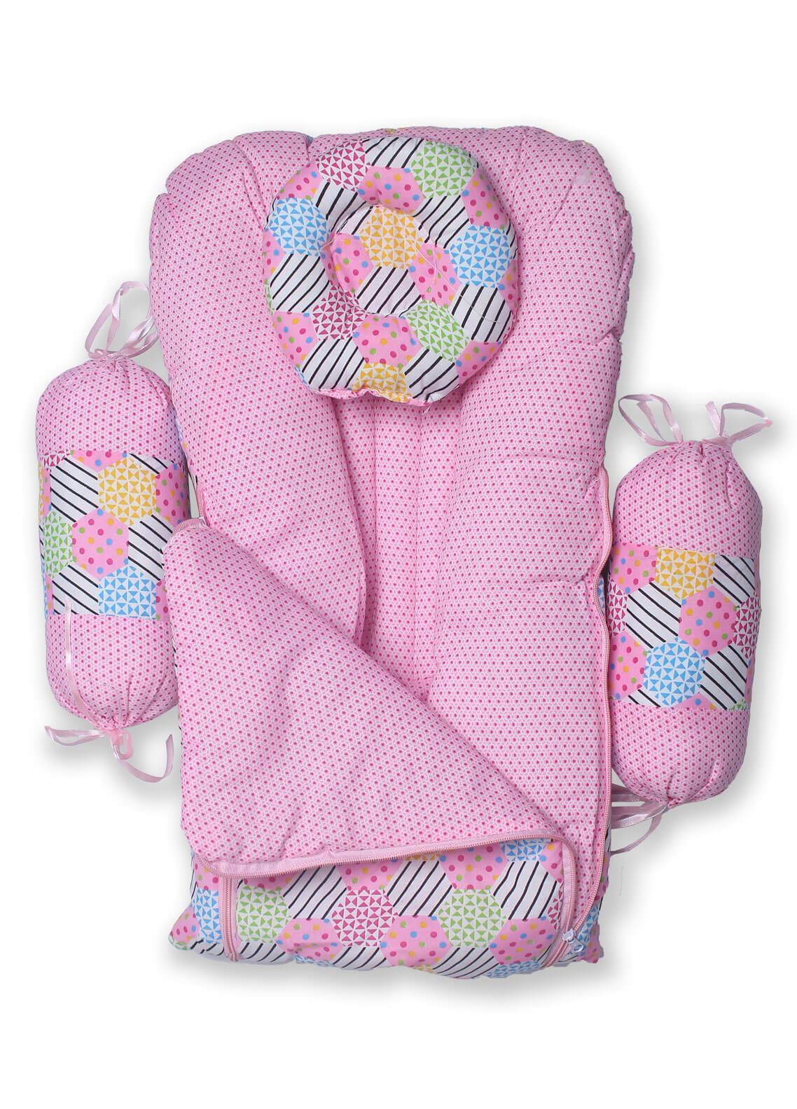 Plush Mink Poly Fiber Carrier Set 4 Pieces PEEKABOO CARRIER SET WITH BOLSTERS (4 Pieces Set) Pink - Baby Products