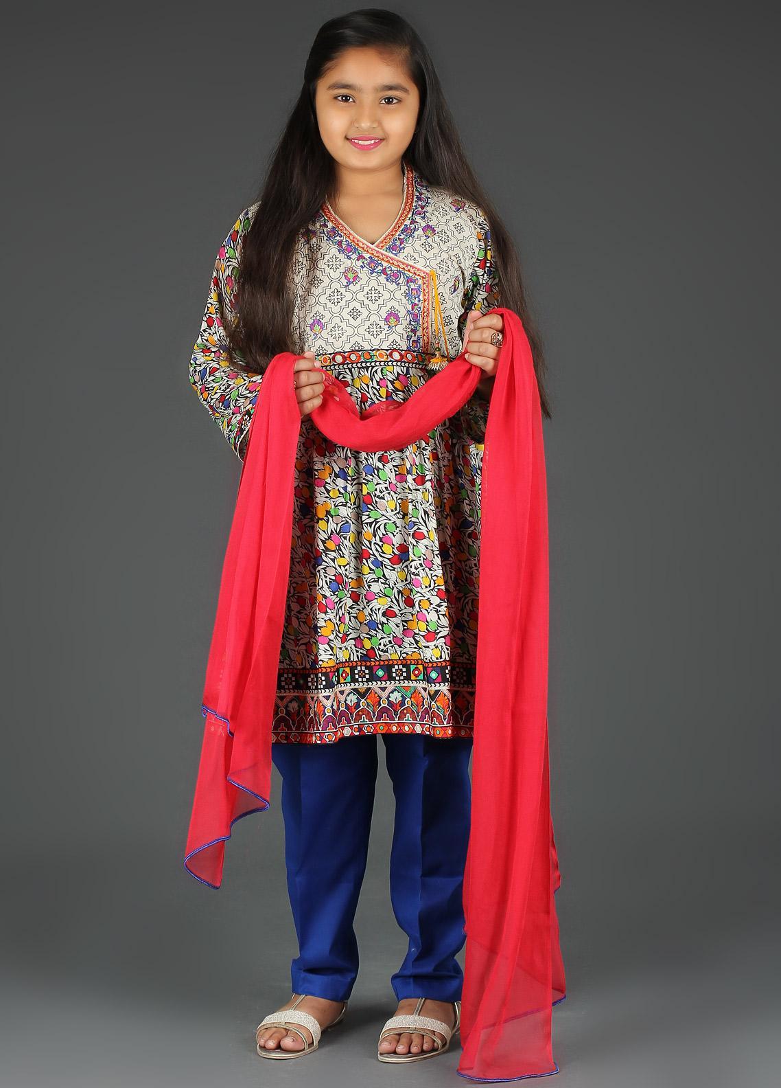 49e7e12212 Sanaulla Exclusive Range Cotton Embroidered Girls 3 Piece Suits - 5411G Blue