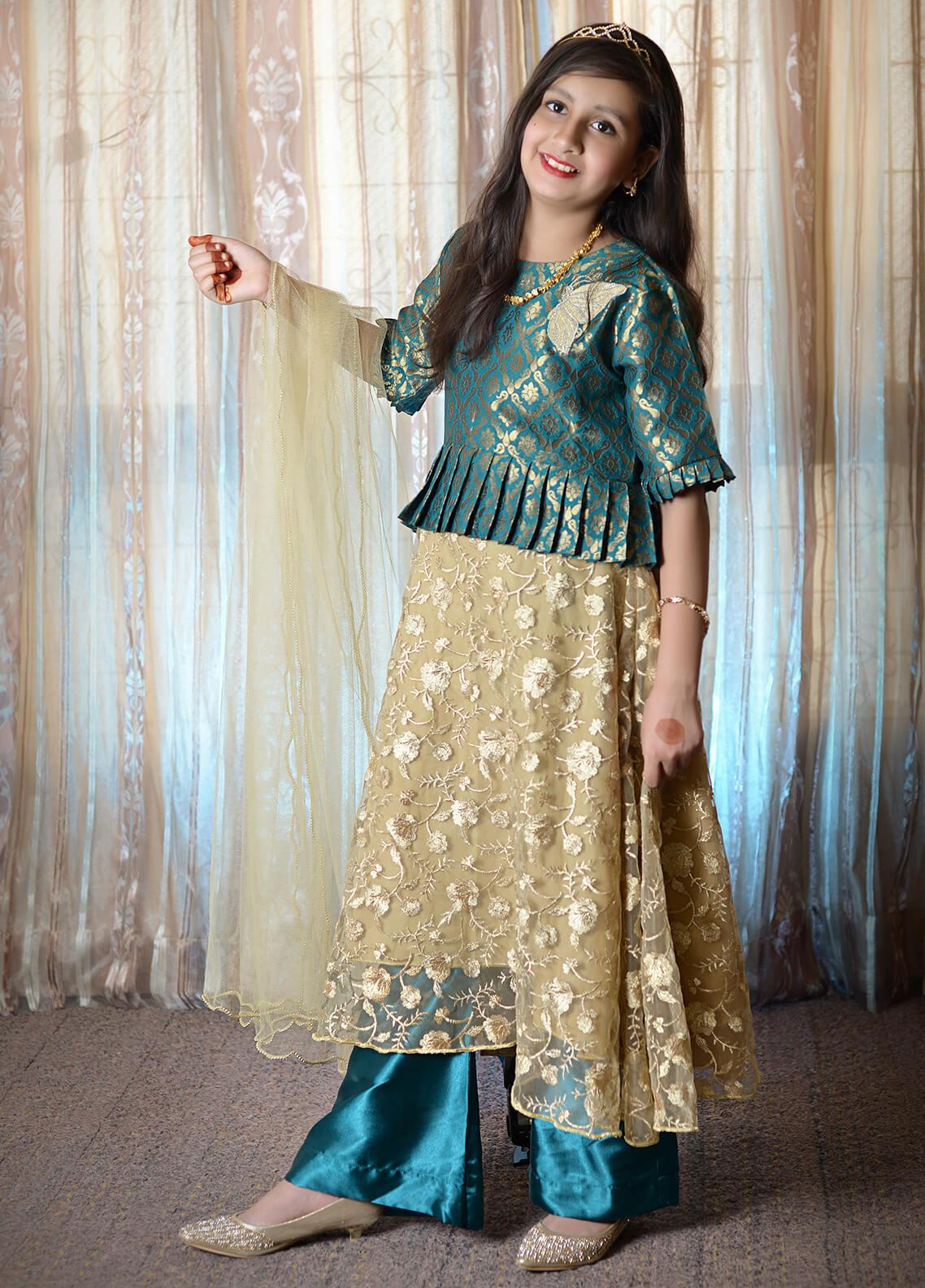 Nargis Shaheen Chiffon Formal 3 Piece Suit for Girls -  NSK-007 Golden