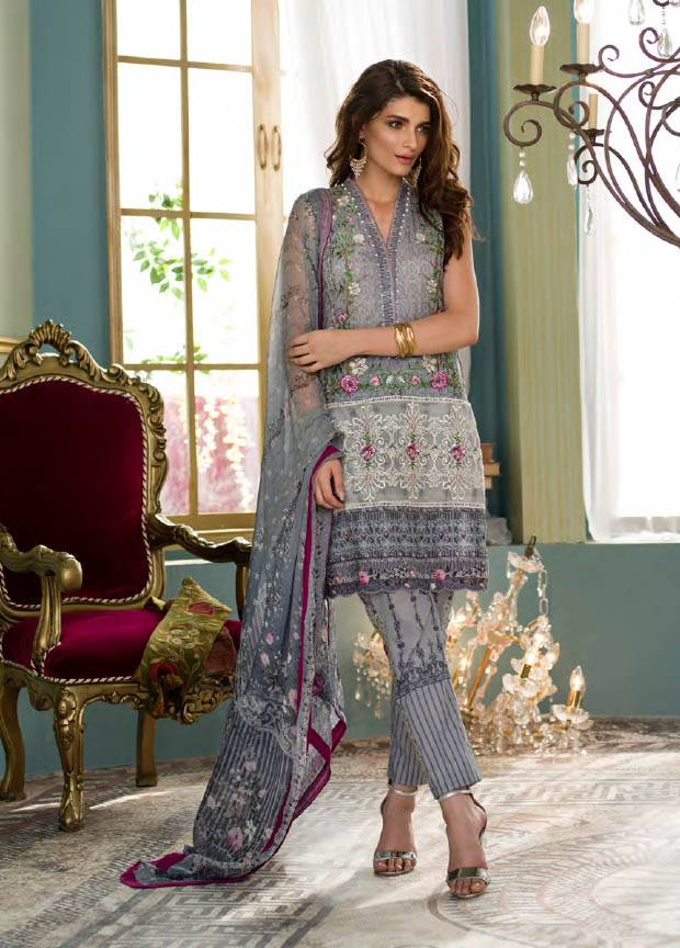 Komal By LSM Embroidered Lawn Unstitched 3 Piece Suit KM17E KE2022B