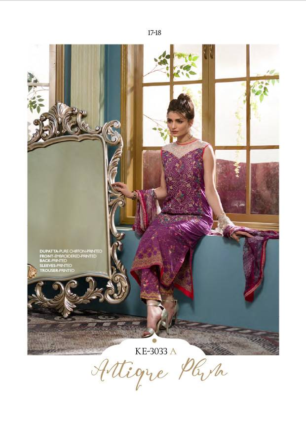 Komal By LSM Embroidered Lawn Unstitched 3 Piece Suit KM17E KE3033A