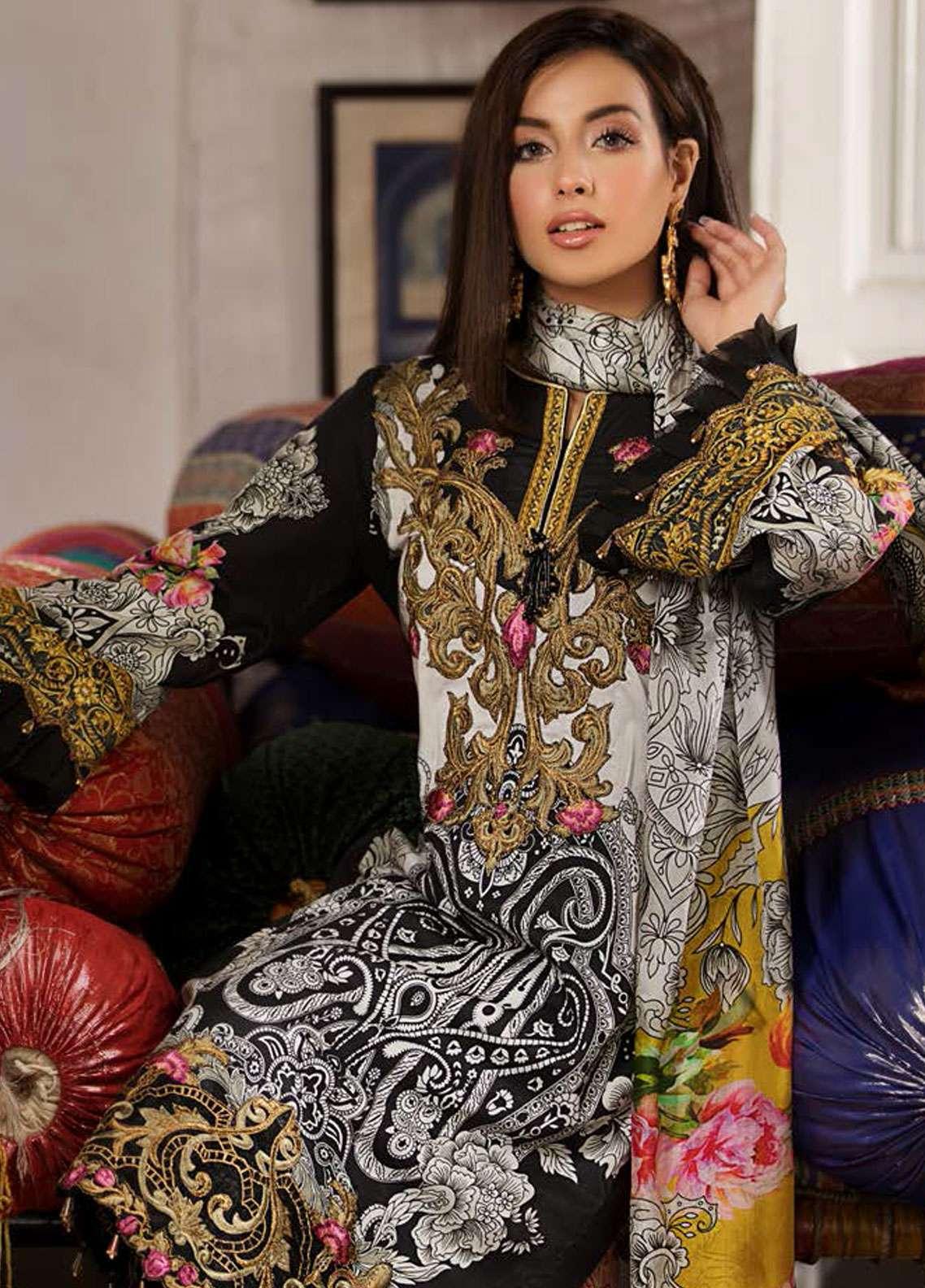 Kross Kulture Embroidered Lawn Unstitched 3 Piece Suit KK19L 01 MARIGOLD - Spring / Summer Collection