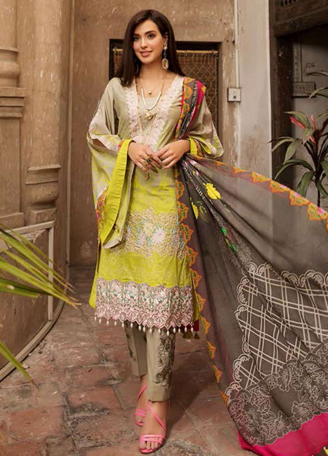 Kross Kulture Embroidered Lawn Unstitched 3 Piece Suit KK19L 12 PENNA - Spring / Summer Collection