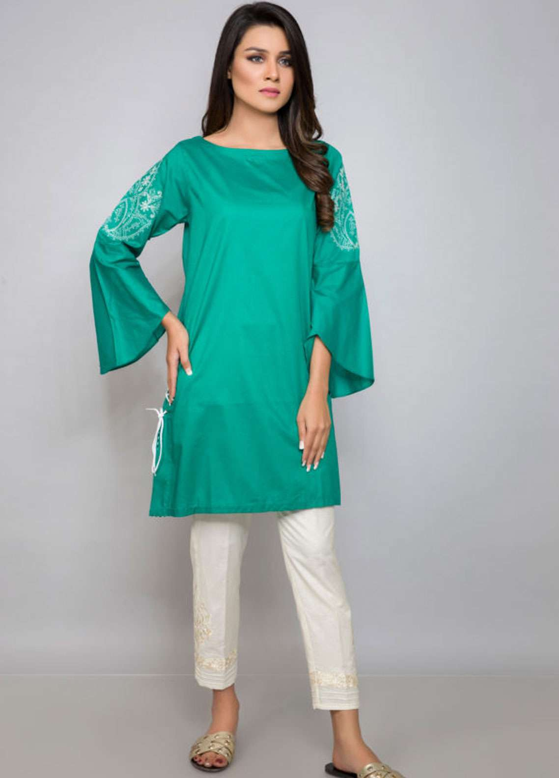Kross Kulture Embroidered Cotton Stitched Kurtis BE-19059 Green
