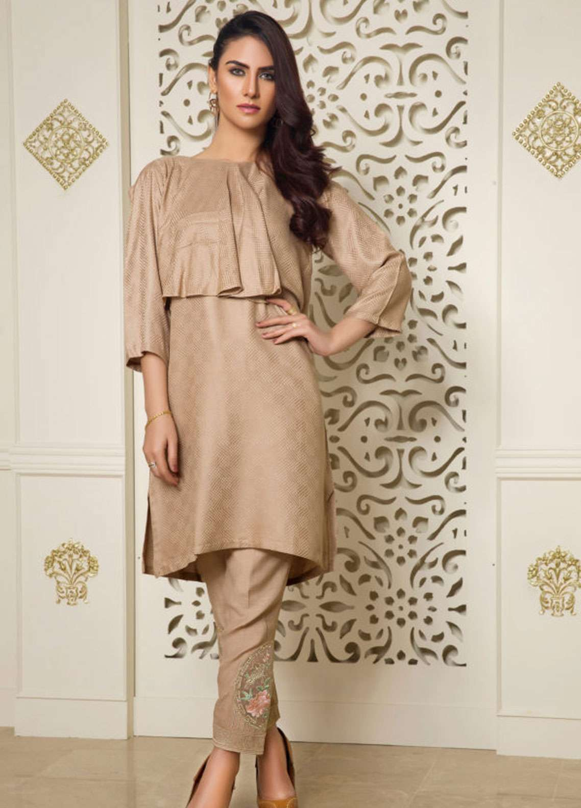 Kross Kulture Embroidered Jacquard Stitched 2 Piece Suit BJ-19006 Coffee