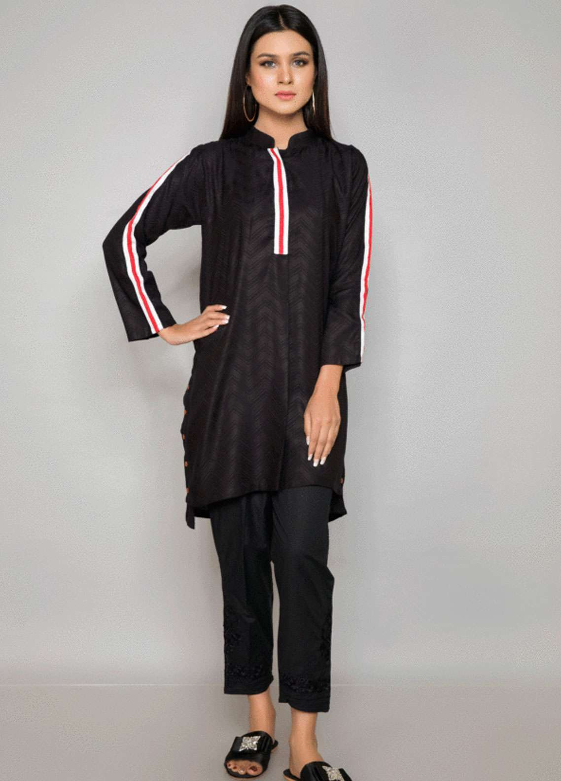 Kross Kulture Embroidered Jacquard Stitched Kurtis BJ-19020 Black