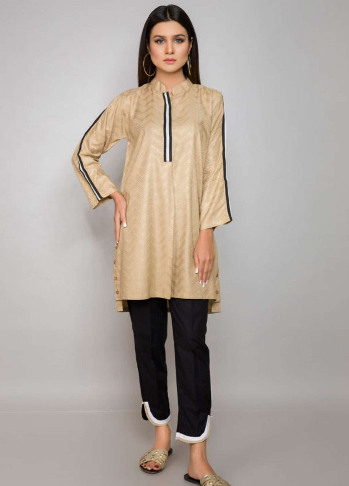 Kross Kulture Embroidered Jacquard Stitched Kurtis BJ-19020 Golden