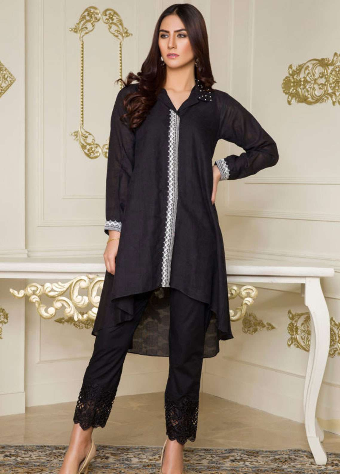 Kross Kulture Embroidered Jacquard Stitched Kurtis BJ-19025 Black
