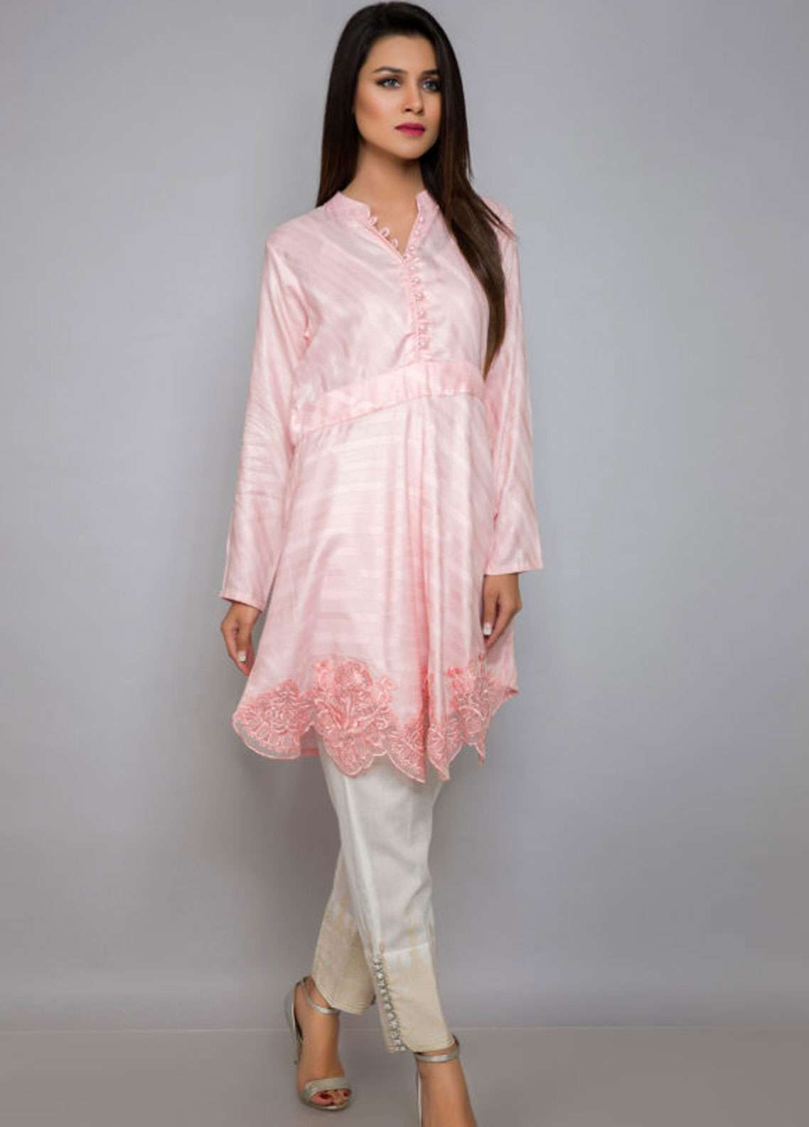 Kross Kulture Embroidered Jacquard Stitched Kurtis BJ-19028 Light Pink