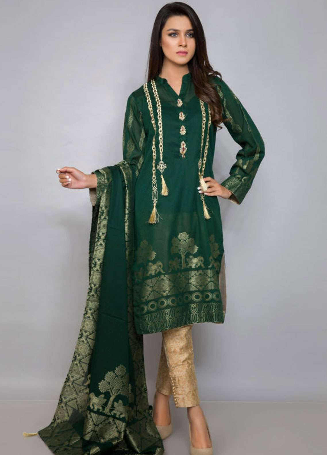 Kross Kulture Embroidered Jacquard Stitched 2 Piece Suit ES-19086 Green