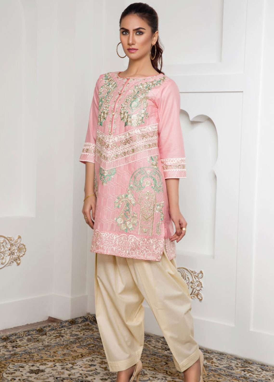Kross Kulture Embroidered Lawn Stitched Kurtis EX-19003 Pink