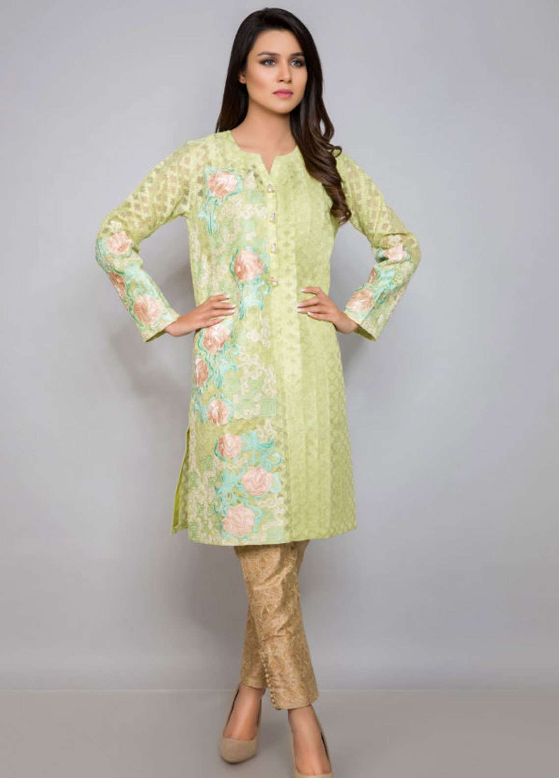 Kross Kulture Embroidered Organza Stitched Kurtis EX-19072 Lime