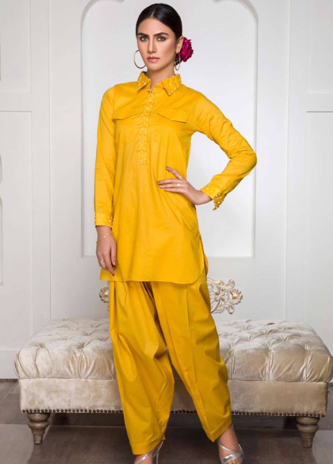 Kross Kulture Embroidered Lawn Stitched 2 Piece Suit KK-19012 Yellow