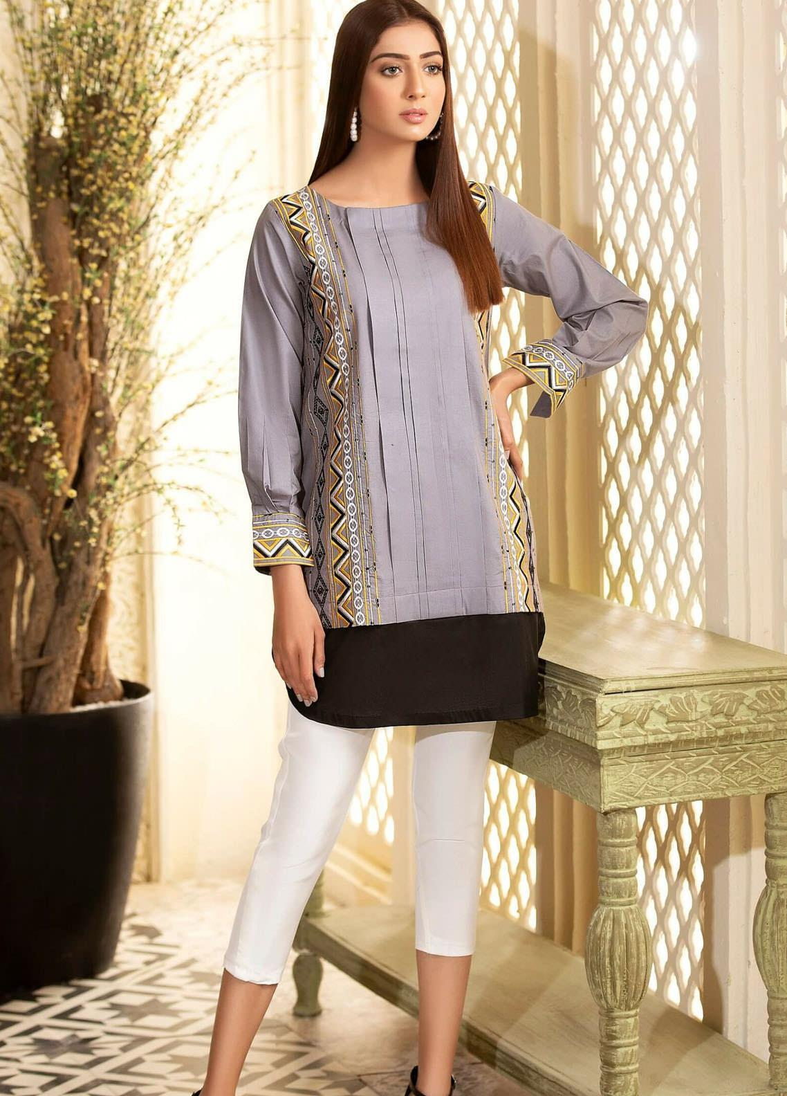 Kross Kulture Embroidered Cambric Stitched Kurtis KB-20443 Grey