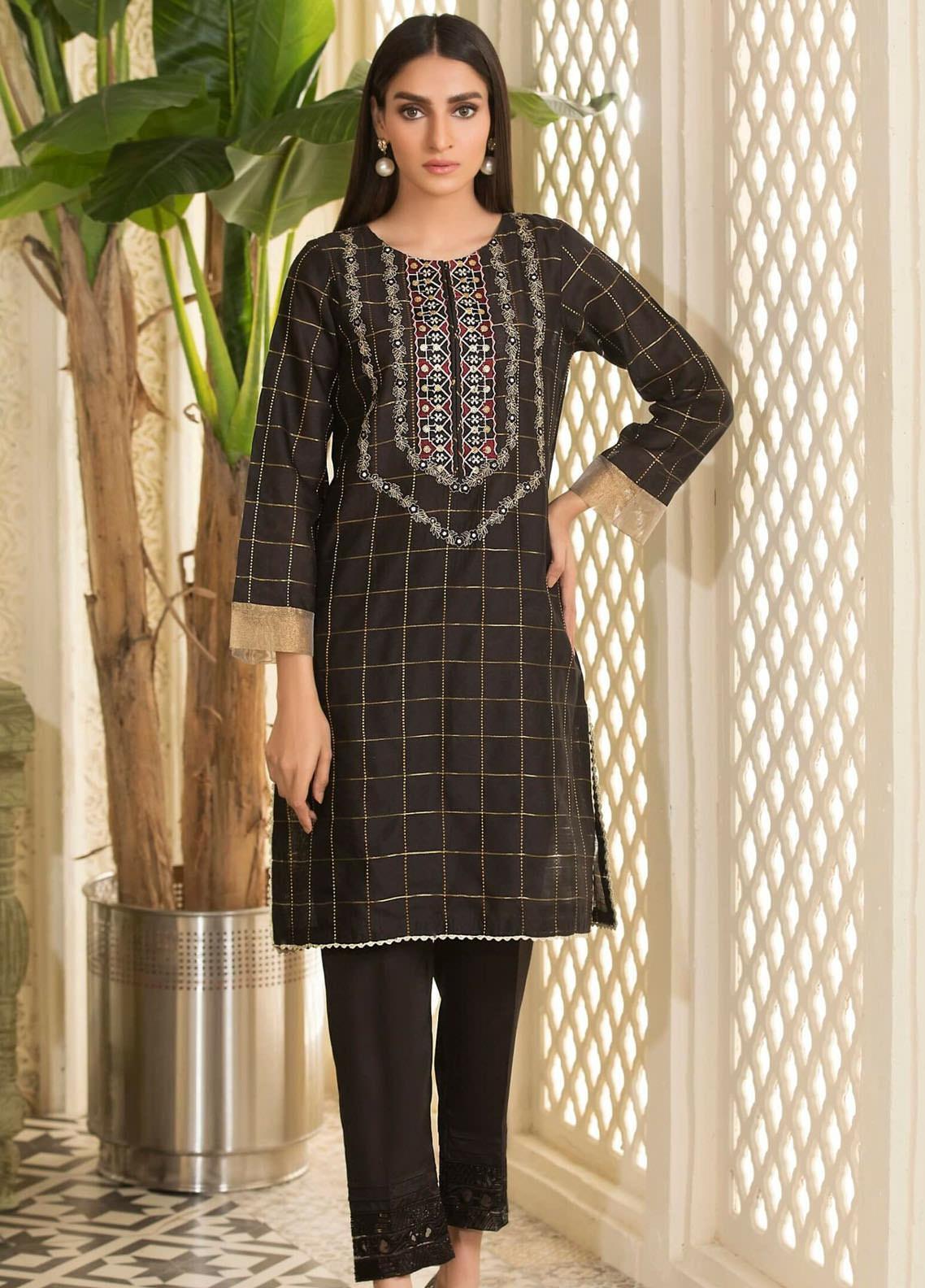 Kross Kulture Embroidered Woven Stitched Kurtis KE-20722 Black