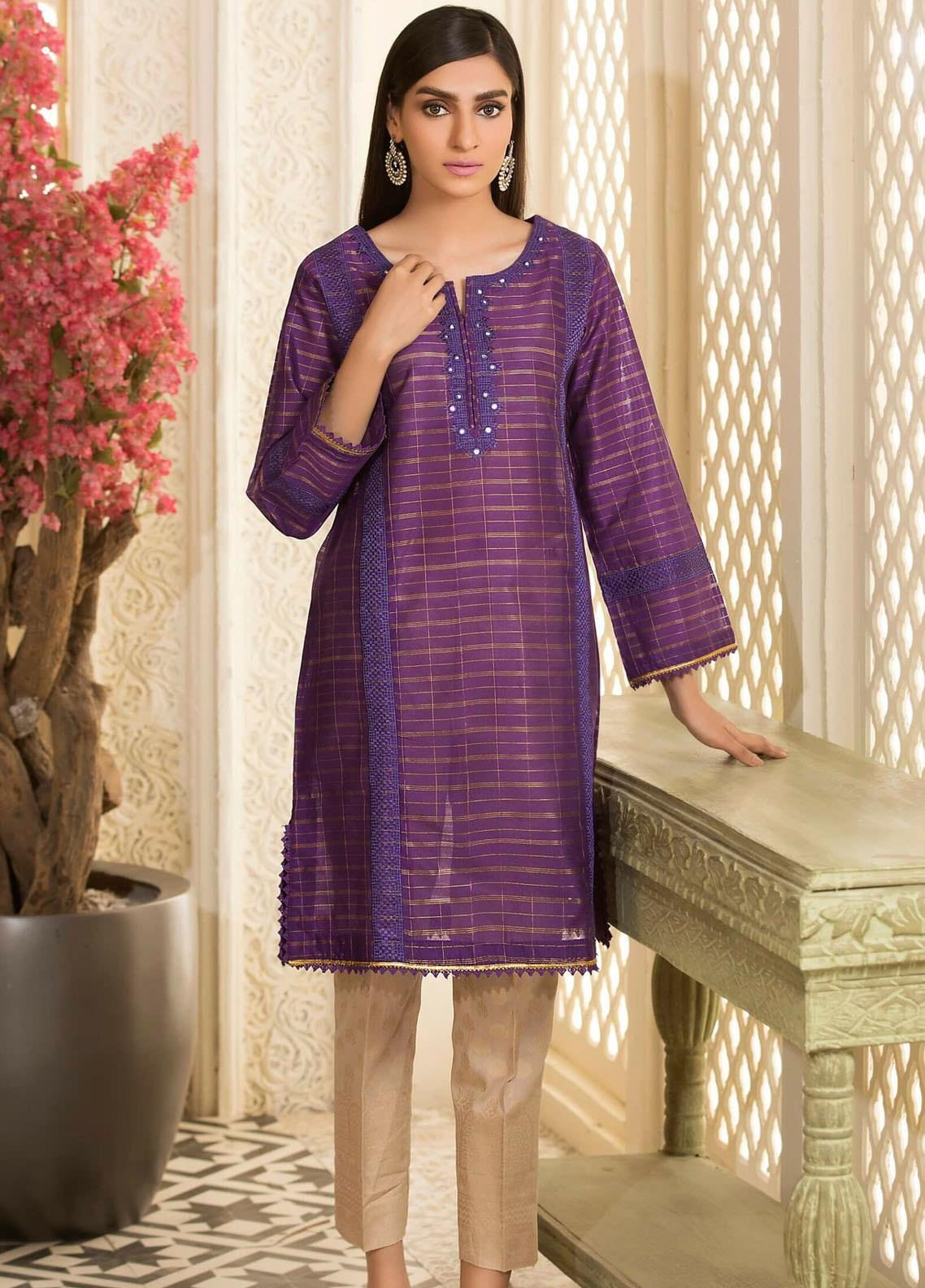 Kross Kulture Embroidered Cotton Net Stitched Kurtis KE-20723 Purple