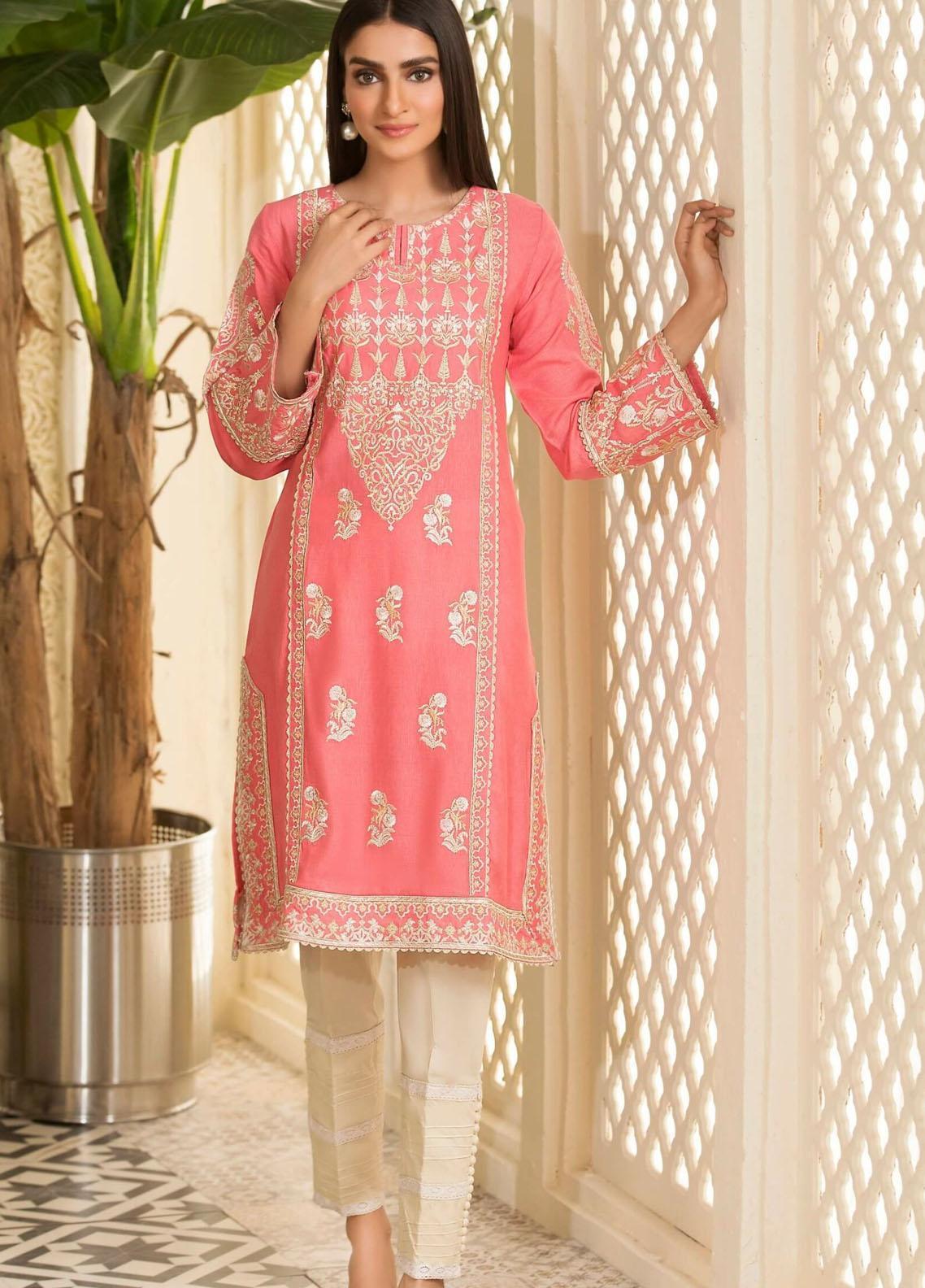 Kross Kulture Embroidered Karandi Stitched Kurtis KE-20726 T-Pink