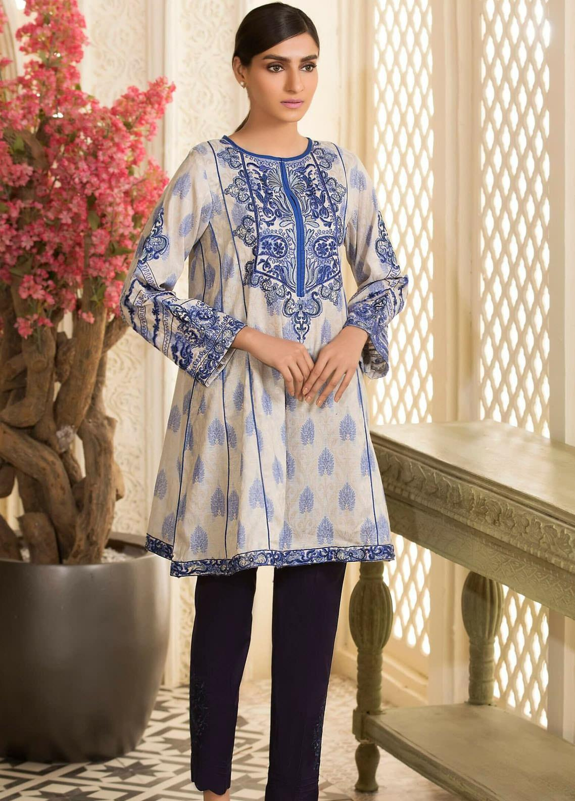 Kross Kulture Embroidered Woven Stitched Kurtis KX-20587 Off White