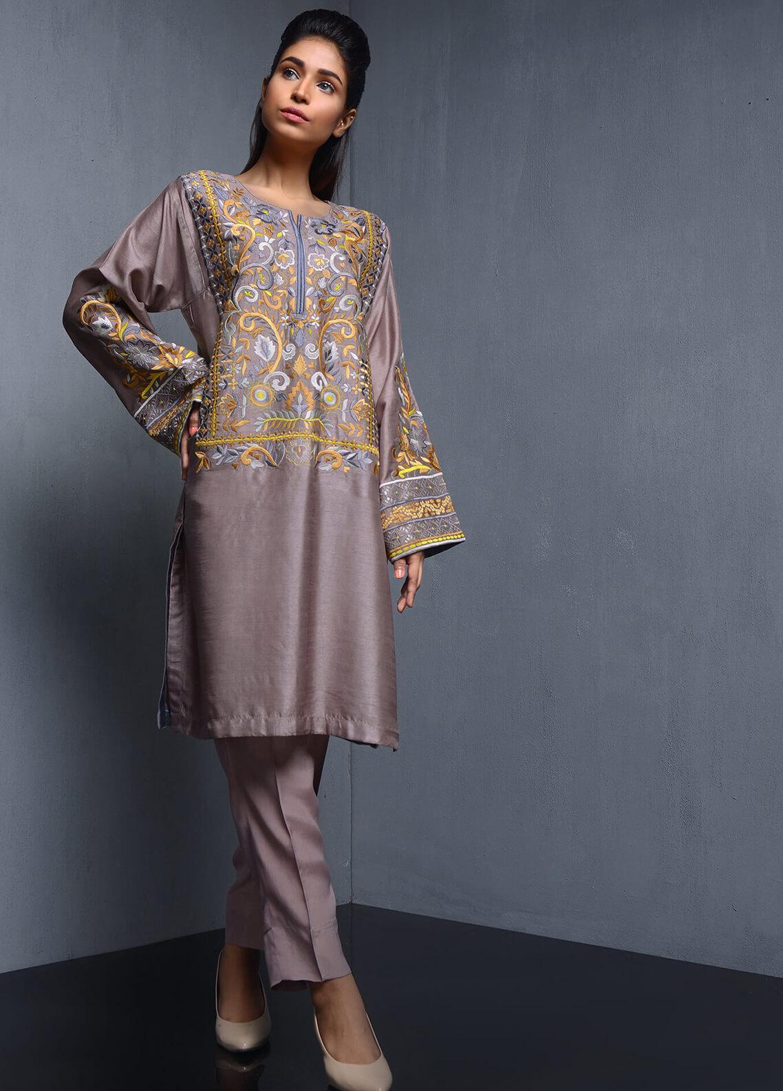 Kuli Jume Embroidered Raw Silk Stitched 2 Piece Suit Radiant Mauve