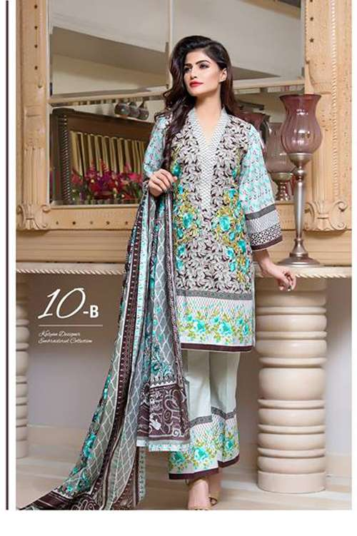 Kalyan By ZS Embroidered Lawn Unstitched 3 Piece Suit KY17E2 10B