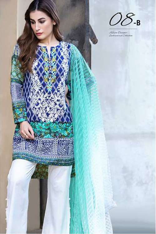 Kalyan By ZS Embroidered Lawn Unstitched 3 Piece Suit KY17E2 8B