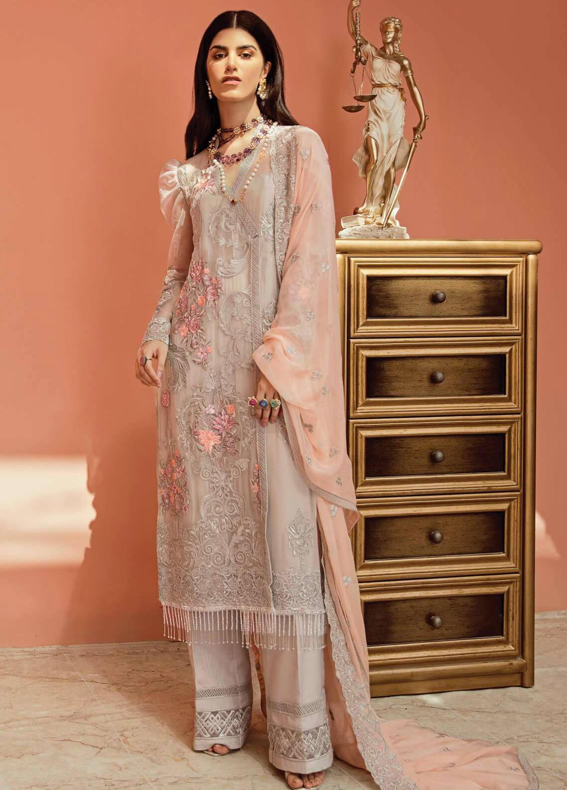 Serene Premium Embroidered Chiffon Unstitched 3 Piece Suit IMP20LR 209 Coudy Grey - Luxury Collection
