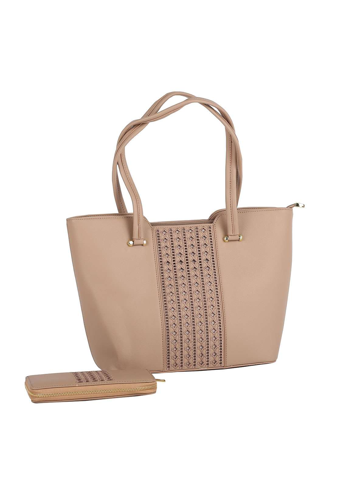 Susen PU Leather Tote Bag for Women - Beige with Stripes