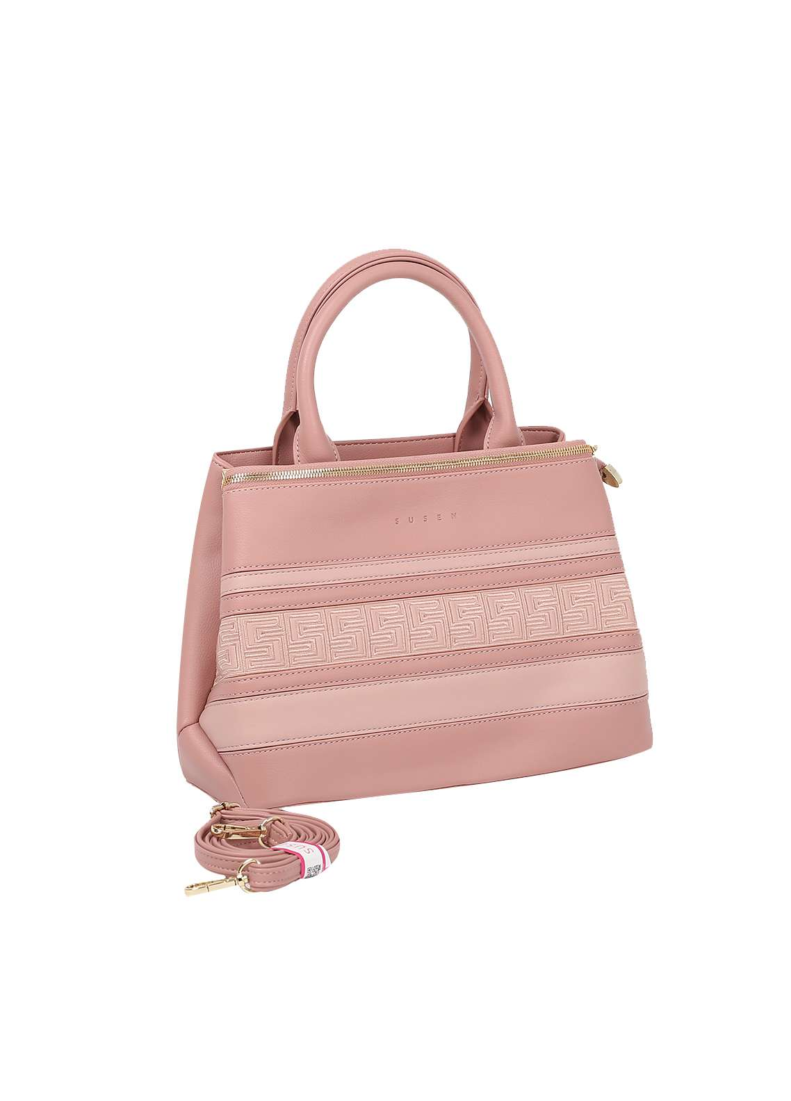 Susen PU Leather Satchels Bag for Women - Pink with Stripes