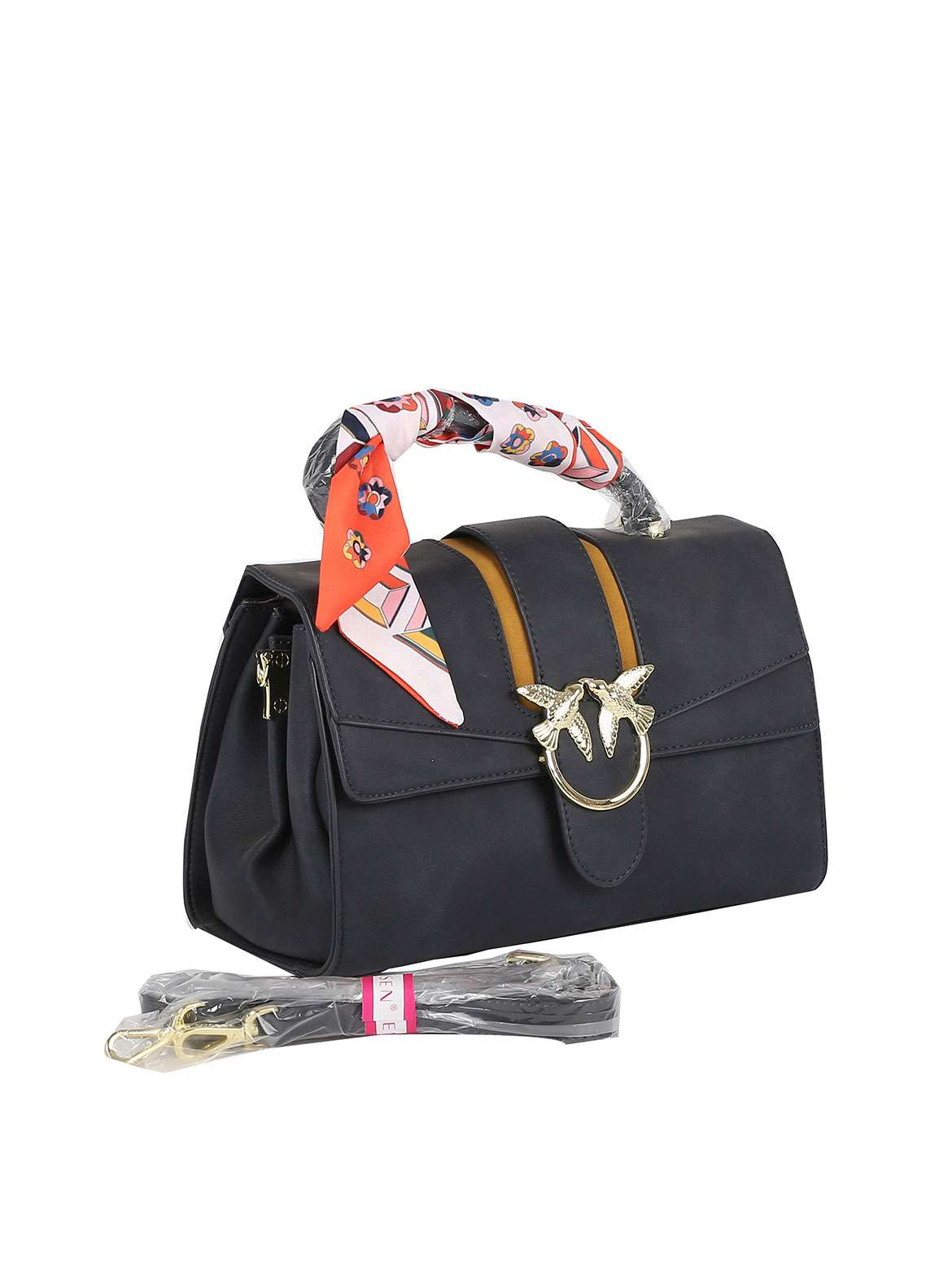 Susen PU Leather Satchels Bag for Women - Navy Blue with