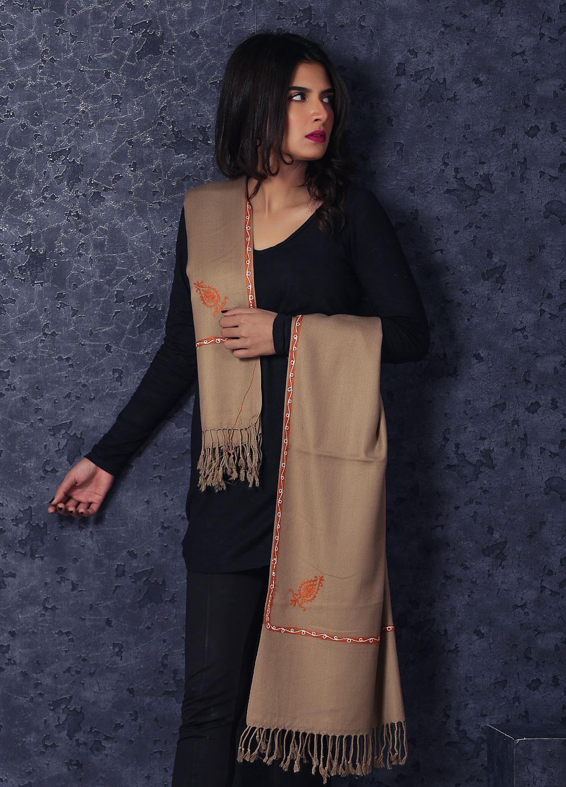 Sanaulla Exclusive Range Embroidered Pashmina  Stole MIR-82 Brown