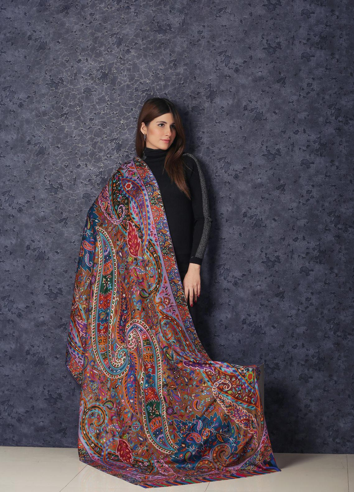 Sanaulla Exclusive Range  Silk Printed Shawl MIR-777 Mix - Winter Collection