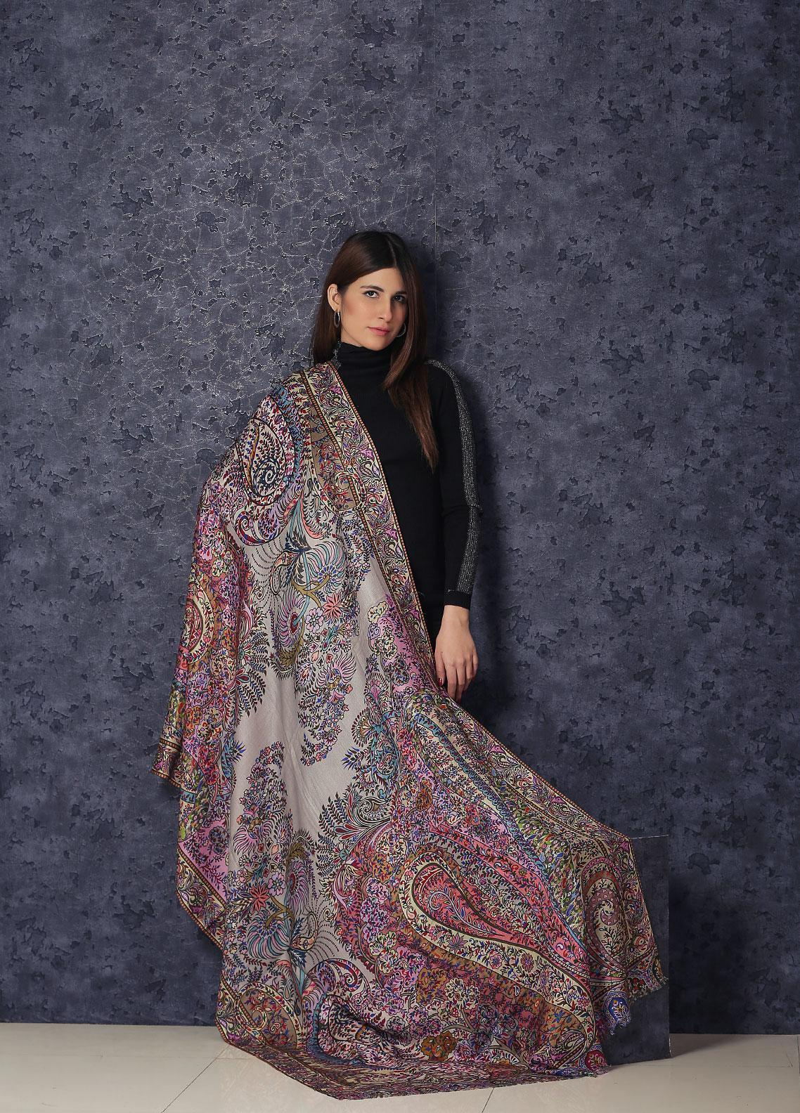 Sanaulla Exclusive Range  Silk Printed Shawl MIR-782 Mix - Winter Collection